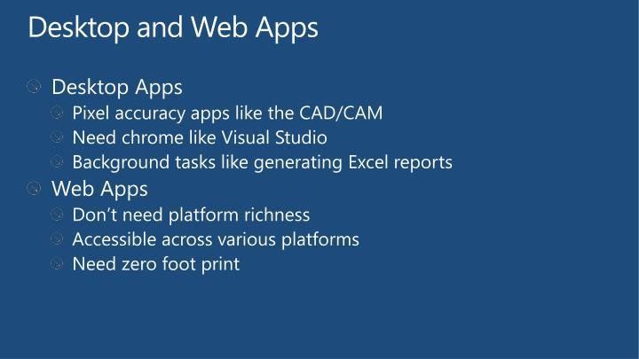 Desktop and Web Apps