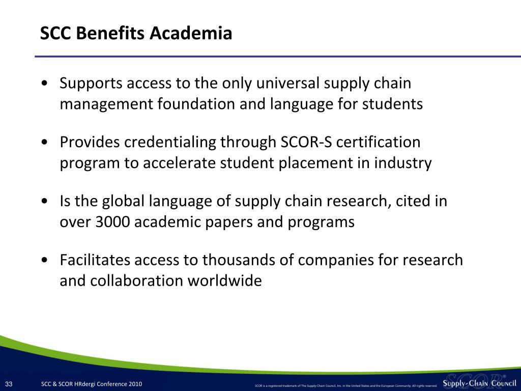 SCC Benefits Academia