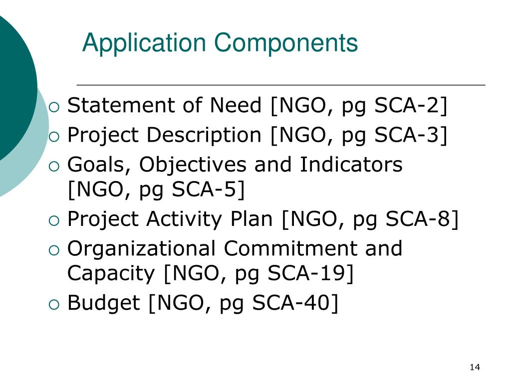 Statement of Need [NGO, pg SCA-2]
