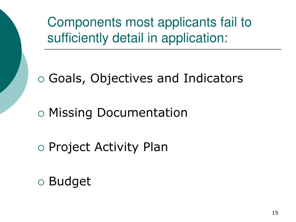 Components most applicants fail to sufficiently detail in application: