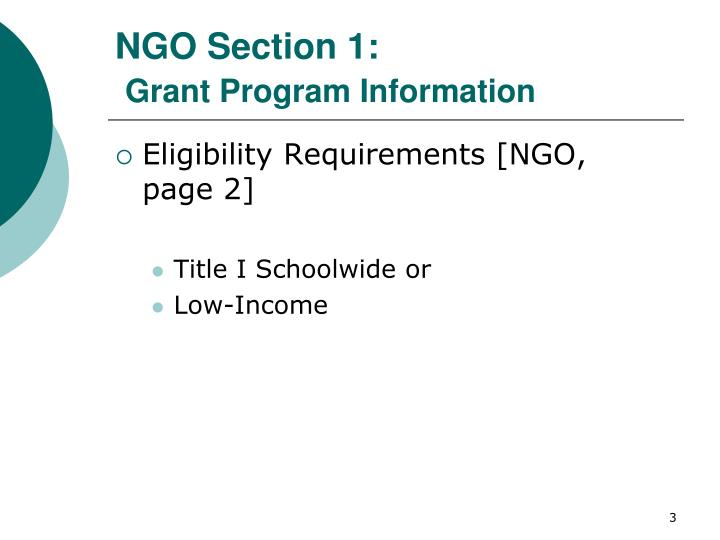 Ngo section 1 grant program information