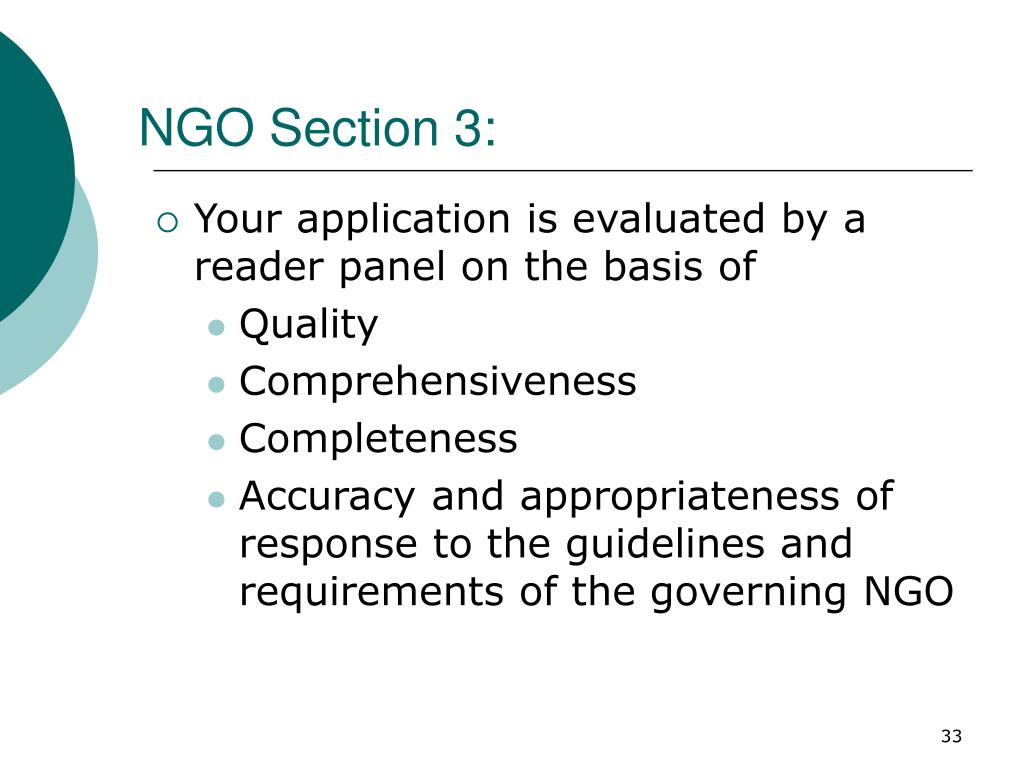 NGO Section 3: