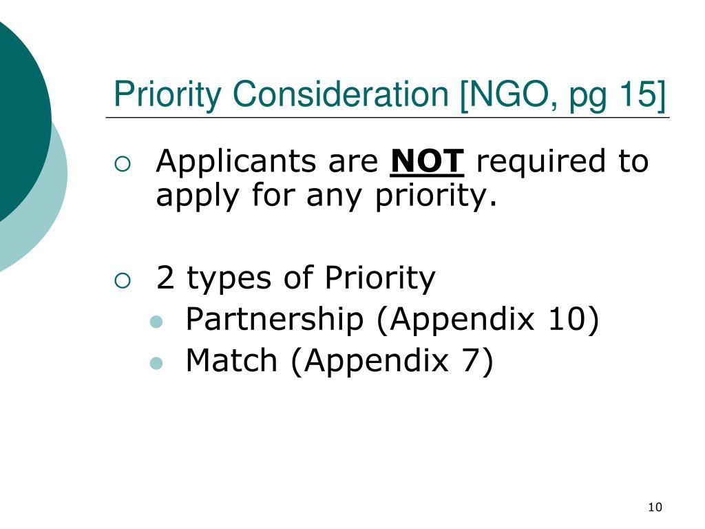 Priority Consideration [NGO, pg 15]