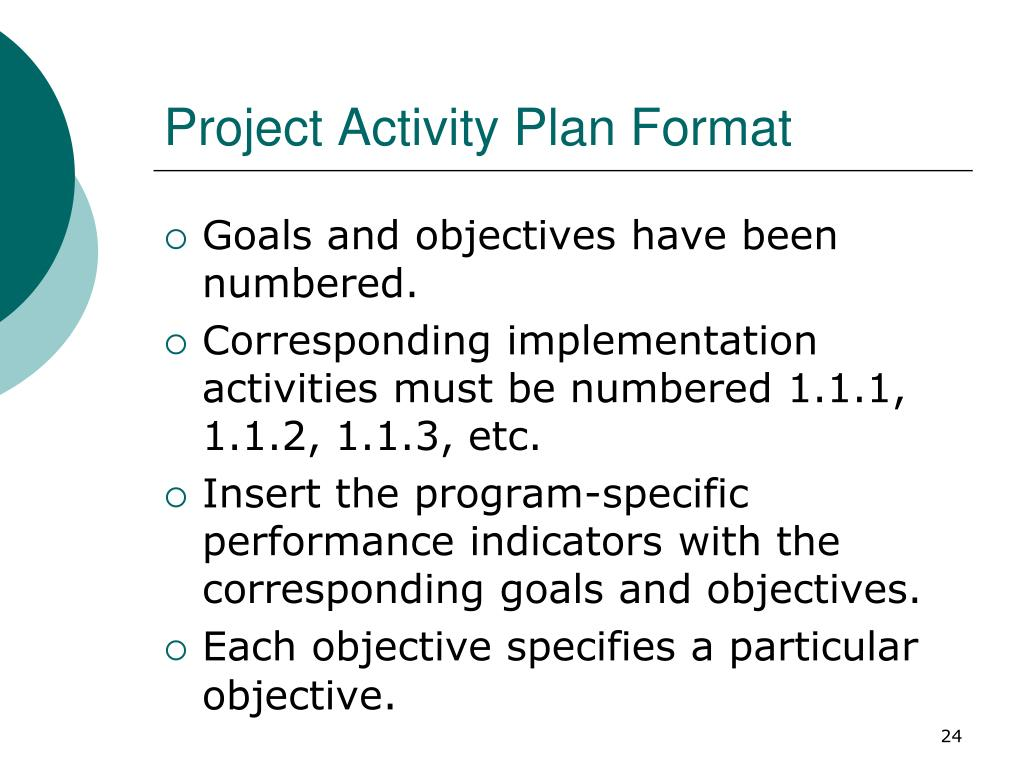 Project Activity Plan Format