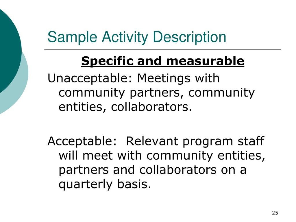 Sample Activity Description