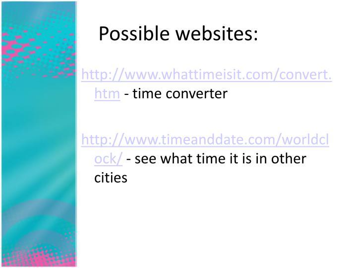 Possible websites: