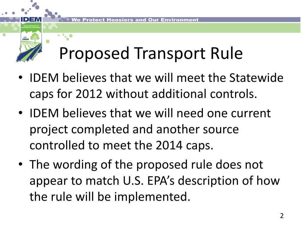 Proposed Transport Rule