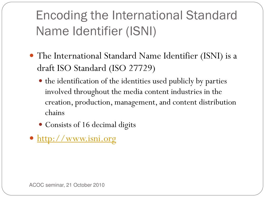 Encoding the International Standard Name Identifier (ISNI)