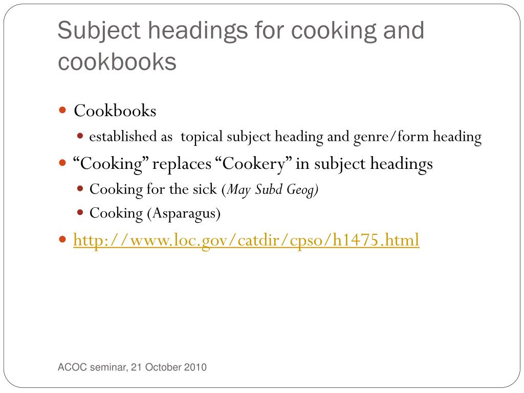 Subject headings for cooking and cookbooks