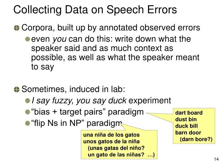 Collecting Data on Speech Errors