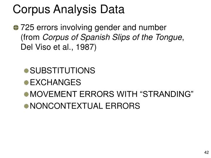 Corpus Analysis Data
