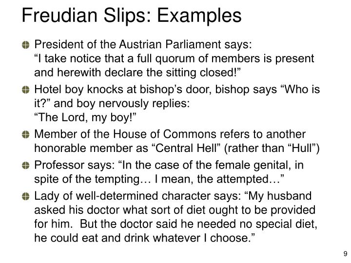 Freudian Slips: Examples