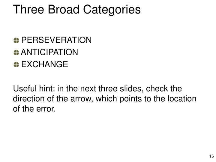 Three Broad Categories