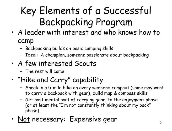 Key Elements of a Successful Backpacking Program