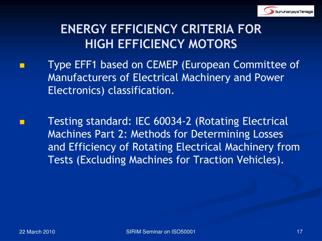 ENERGY EFFICIENCY CRITERIA FOR