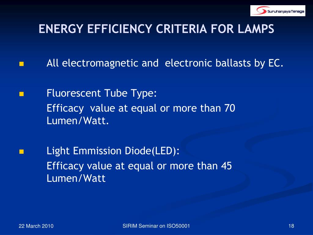 ENERGY EFFICIENCY CRITERIA FOR LAMPS