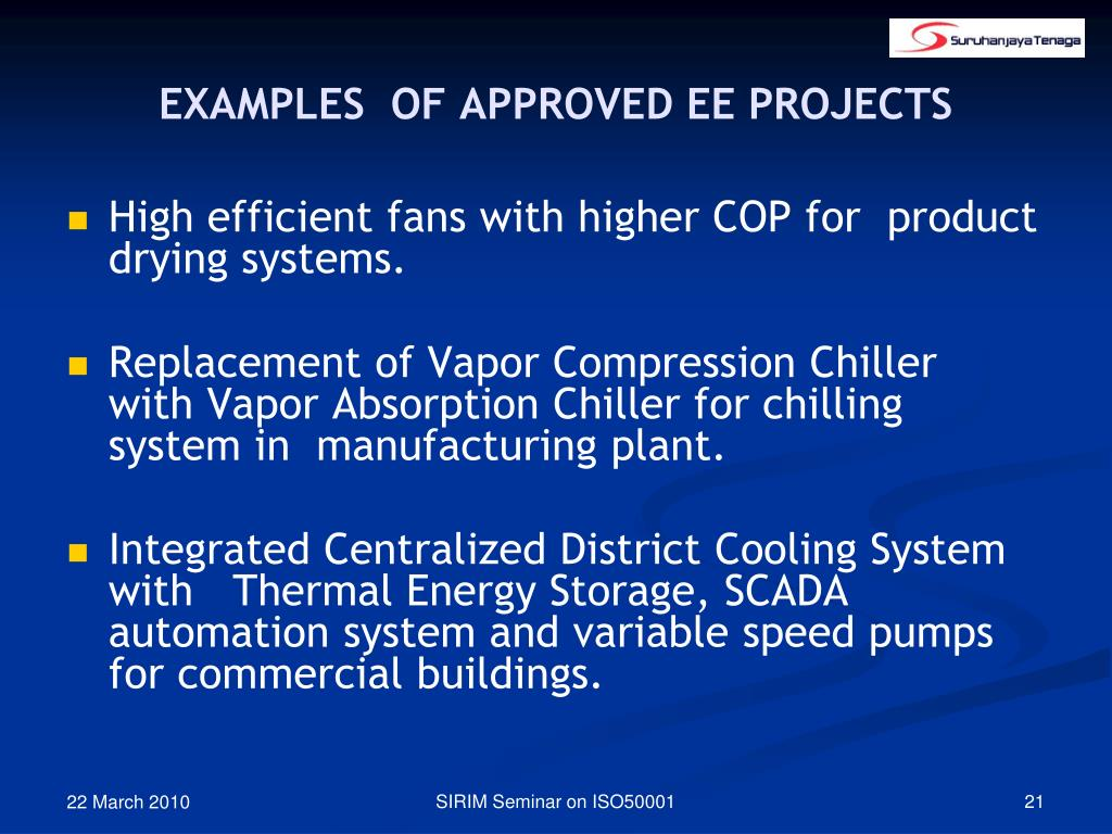 EXAMPLES  OF APPROVED EE PROJECTS