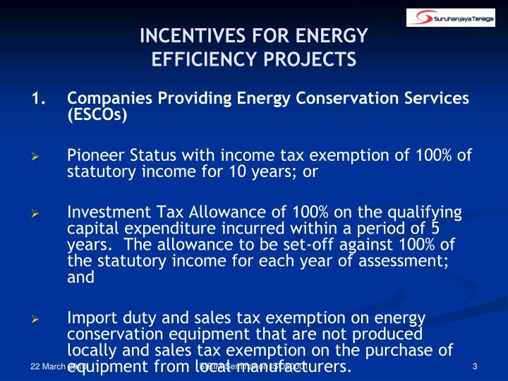 Incentives for energy efficiency projects