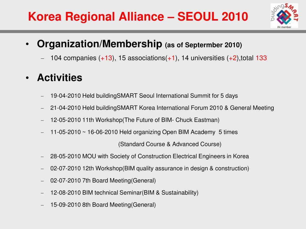 Korea Regional Alliance – SEOUL 2010