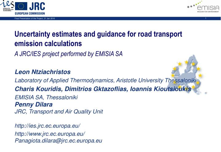 Uncertainty estimates and guidance for road transport emission calculations