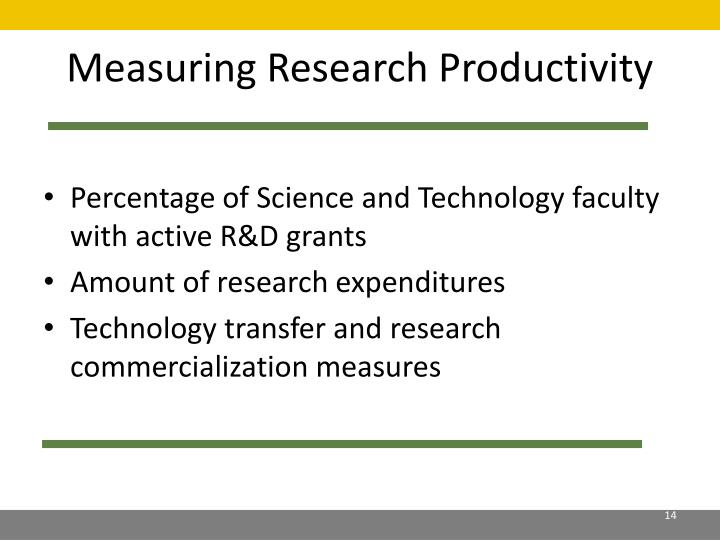 Measuring Research Productivity