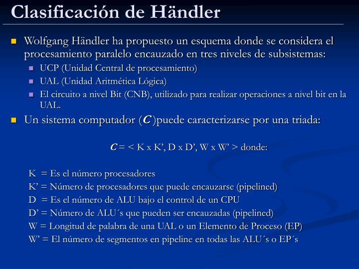Clasificación de H