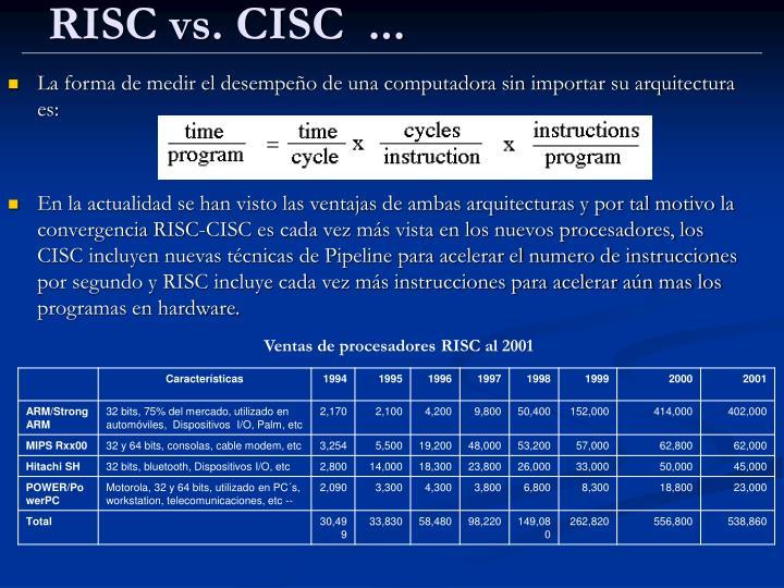 RISC vs. CISC  ...