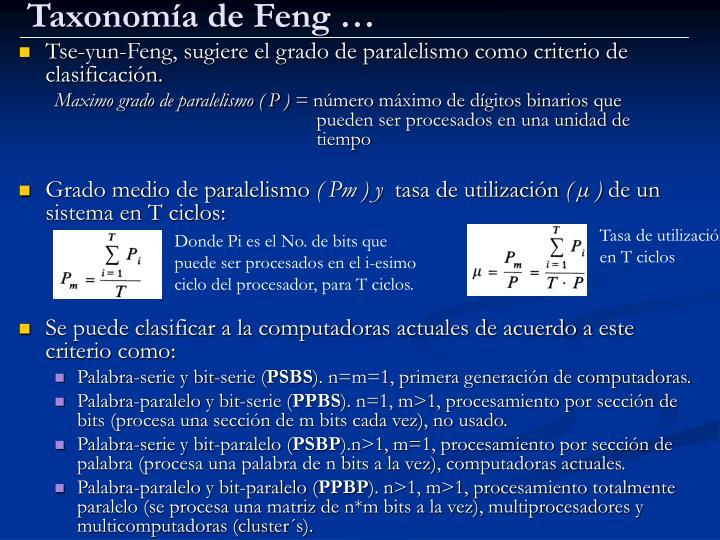 Taxonomía de Feng …
