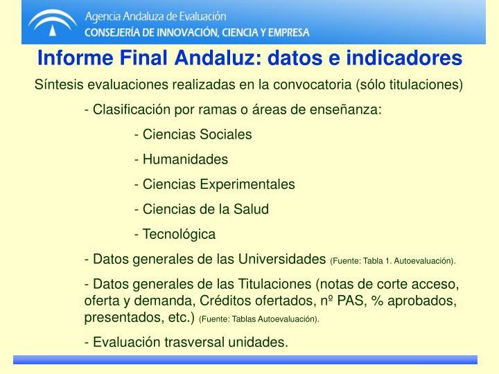 Informe Final Andaluz: datos e indicadores