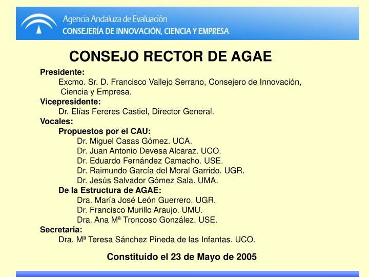 CONSEJO RECTOR DE AGAE