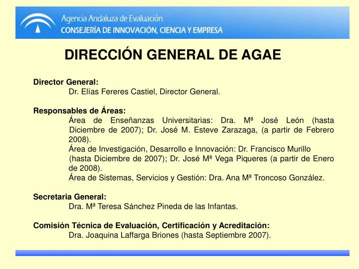 DIRECCIÓN GENERAL DE AGAE