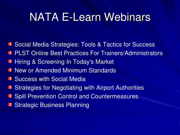 NATA E-Learn Webinars