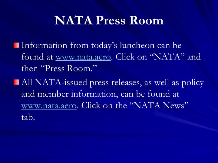 NATA Press Room