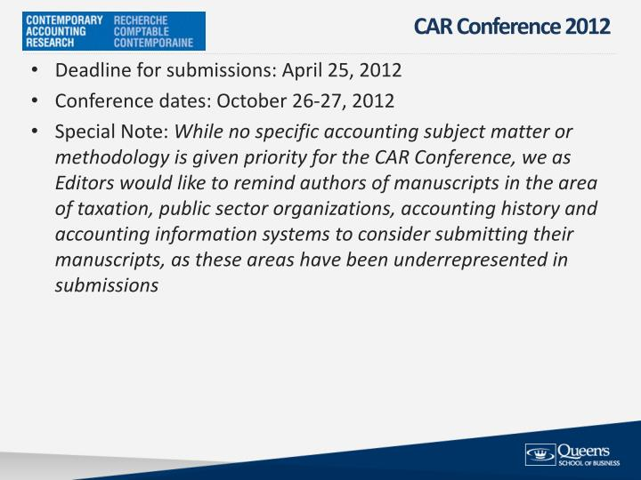 CAR Conference 2012