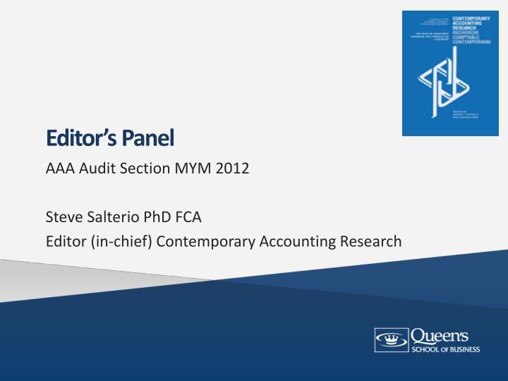 Editor's Panel