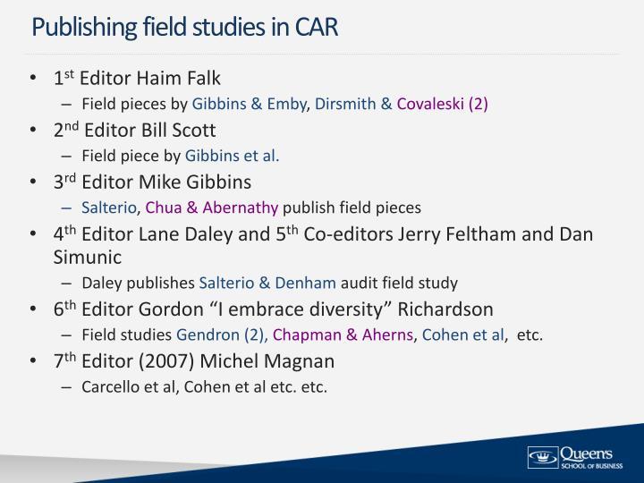 Publishing field studies in CAR