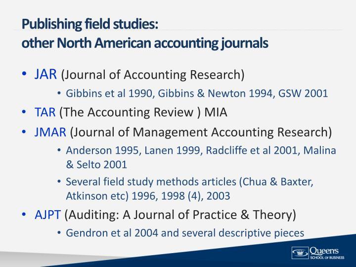 Publishing field studies: