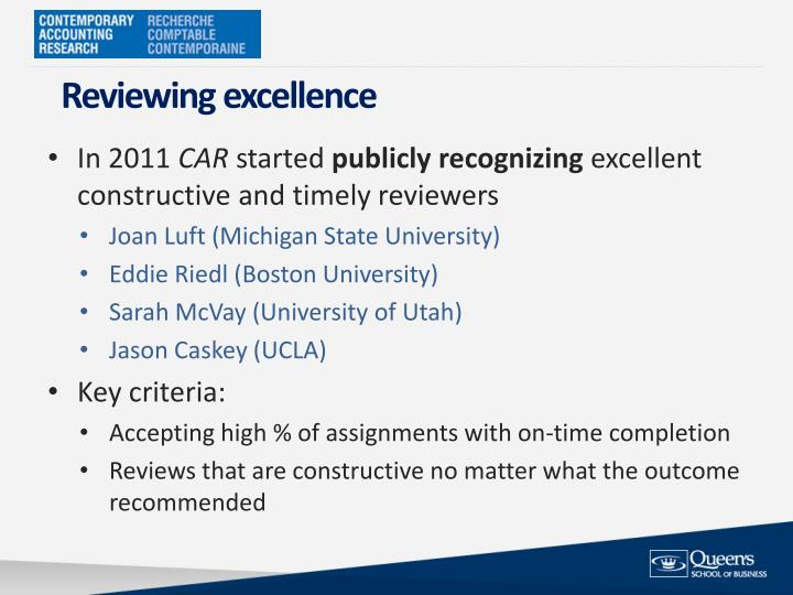 Reviewing excellence