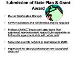 submission of state plan grant award