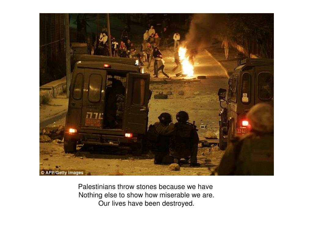 Palestinians throw stones because we have