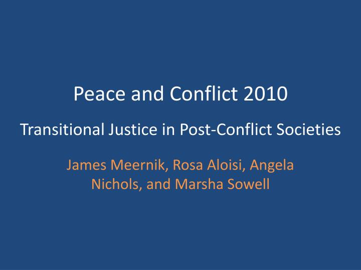 Peace and Conflict 2010