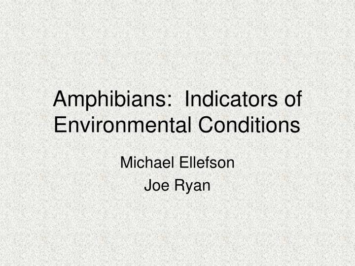 Amphibians indicators of environmental conditions