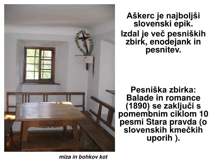 Aškerc je najboljši slovenski epik.