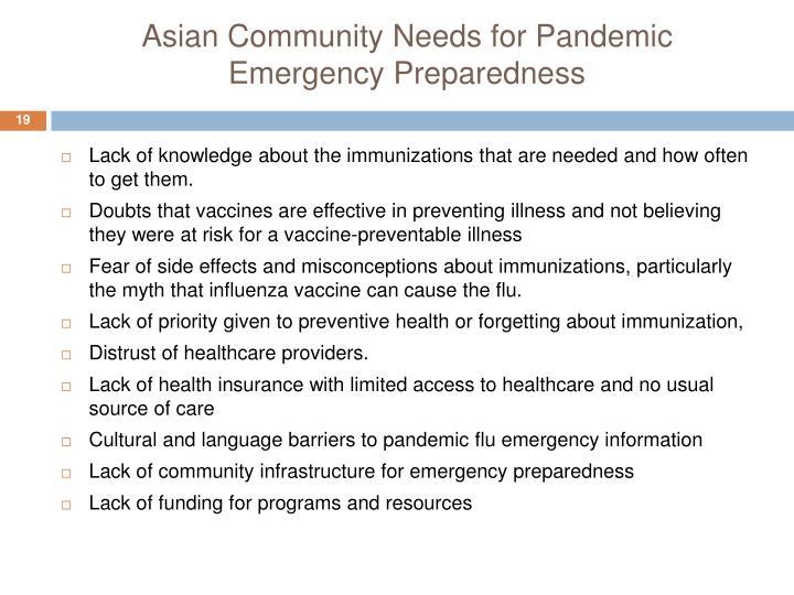 Asian Community Needs for Pandemic Emergency Preparedness