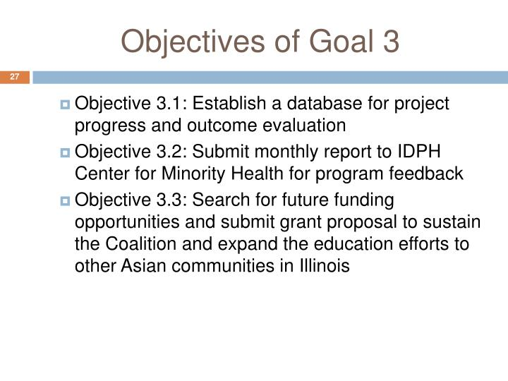 Objectives of Goal 3