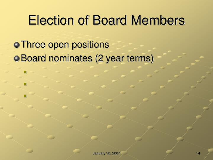 Election of Board Members