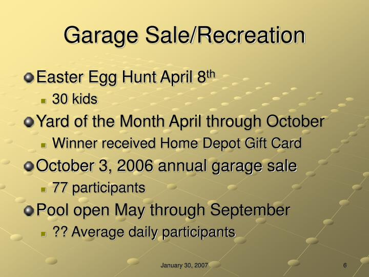 Garage Sale/Recreation