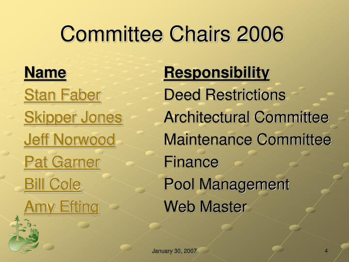 Committee Chairs 2006