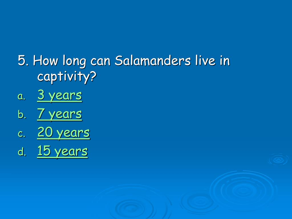 5. How long can Salamanders live in captivity?