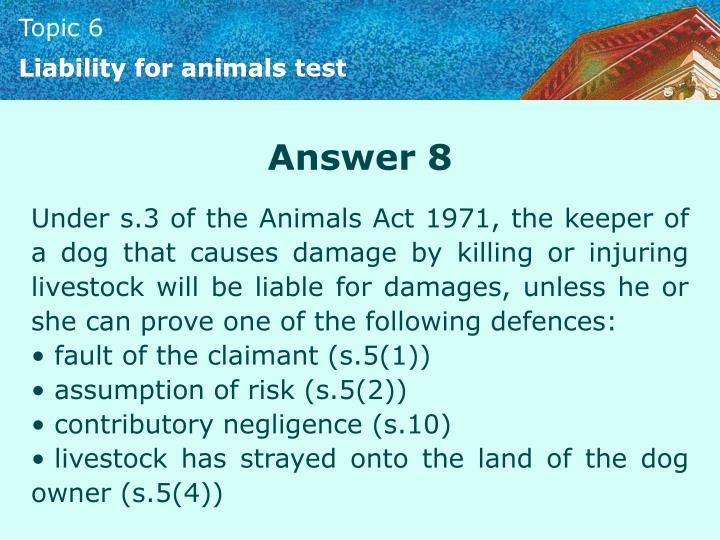 Liability for animals